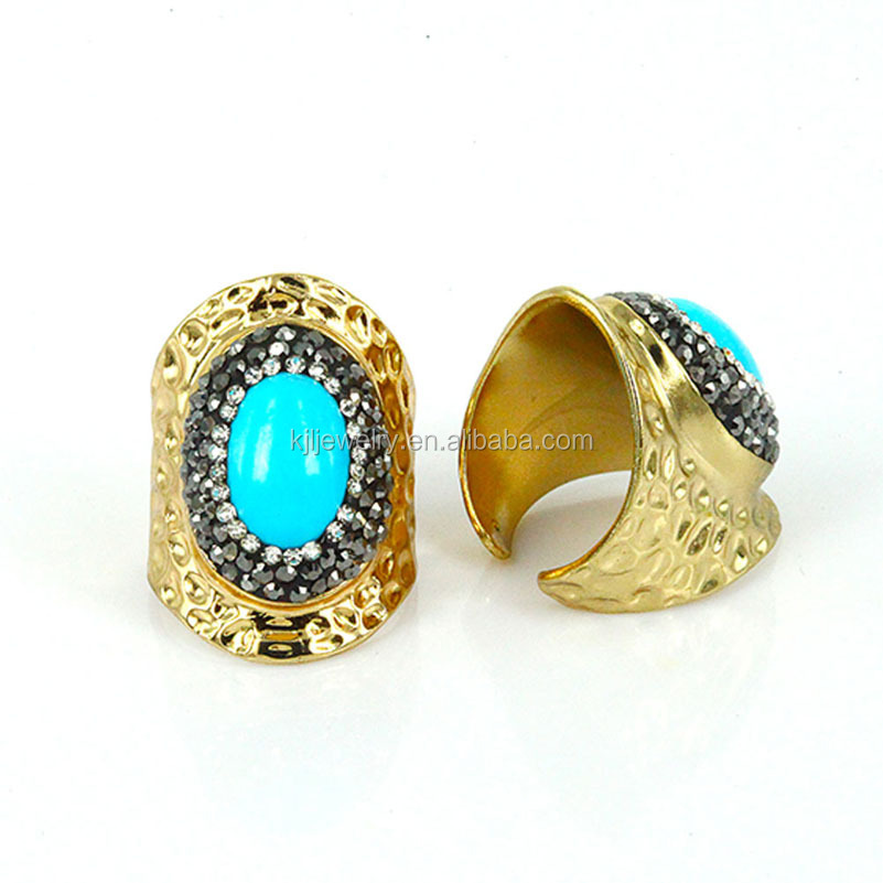 2017 Stone Jewelry Pave with Blue Gemstone turquoise Crystal Rhinestone Men 's Ring