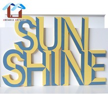 "colorful wholesale craft laser cut wooden alphabet letter ""sunshine"" for decoration"