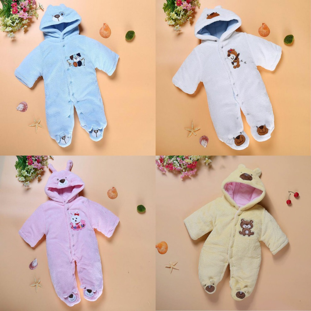Baby Rompers Winter Thick Fleece Climbing Clothes Newborn Girls Warm Romper Knitted Sweater Hooded Outwear