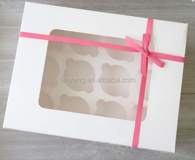 12-Holes White Cupcake Boxes with PVC window Bakery Packaging Cake Box Cupcake Carrier