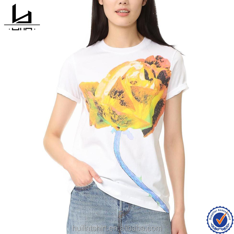 Custom t shirt jersey cotton rose printing crew neck white tee for women