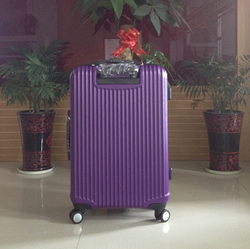 Royal purple popular design hot sales spring and summer srong trolley luggage 100%PC luggage