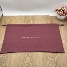 Custom Burgundy Canvas Cotton Drawstring Packaging Bag For Cloth Shoe Accessory