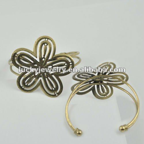 finger link chain ring bracelet jewelry brass flower bracelet