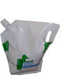 liquid spout pouch with spout and cap for laundry detergent packaging