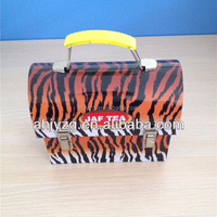small handbag shape tin case with plastic handle