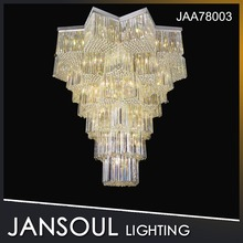 Customization multilayer design art unique yellow light crystal chandelier