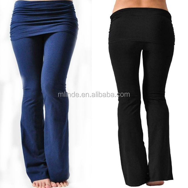 High Quality Stretch Cotton Knit Skirt Pants Black Blue Slim Fit Women Sports Leggings Sexy Lady Yoga Skirt Pants 2017