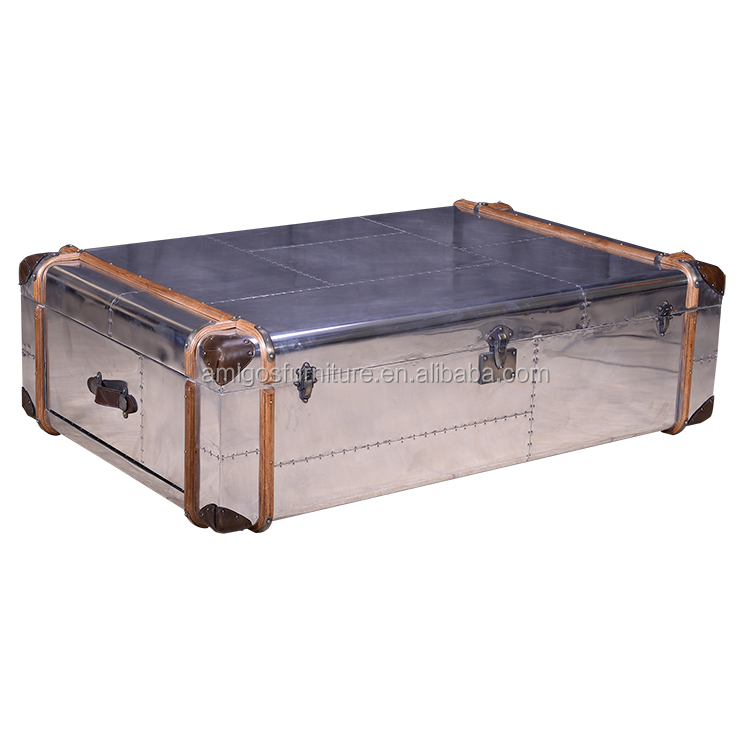 aluminium loft mirrored trunk coffee table - buy expanding coffee