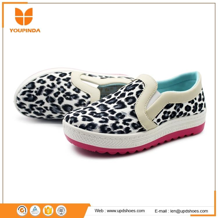 Latest ladies spring shoes leopard print design comfortable casual platform footwear