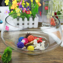 Hot sale aquarium round glass fish tank/glass fish bowl with short stem/wide mouth of the fish tank