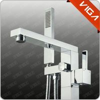 black floor standing bathtub faucet