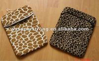 2016 Fashion Animal Print Neoprene Custom Tablet Cases,with short plush