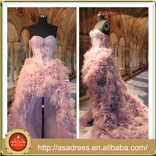 ASAR-1001 Top Design Luxury Pink Ostrich Feather Short front Long Back Evening Dress