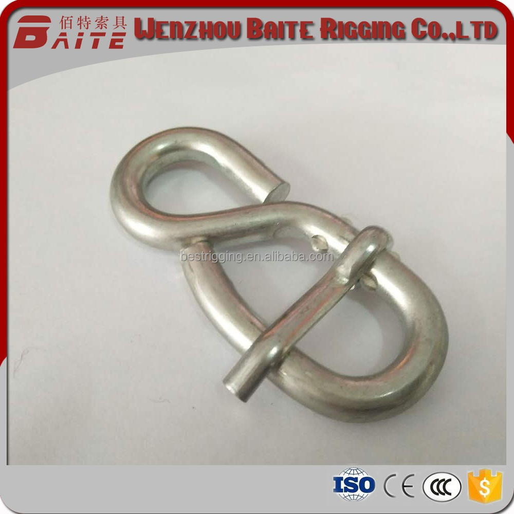 Stainless steel rope wire Rope 8 Shaped Hook Snap Hook ,Spring Hook in Carabiner Rigging hardware
