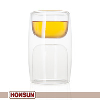 Buy now! 280000 PCS monthly sales the sides of this glassware are double-walled popular hot shot glass