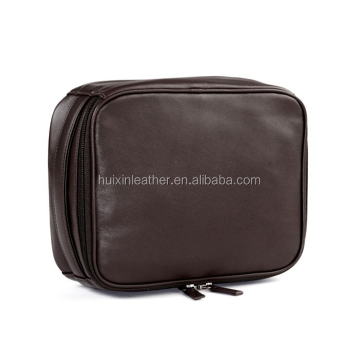 High quality simple type luxury leather cosmetic bag with zipper colsed