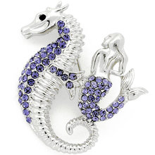 P168-824 purple silver women fashion accessories crystal seahorse and mermaid brooch
