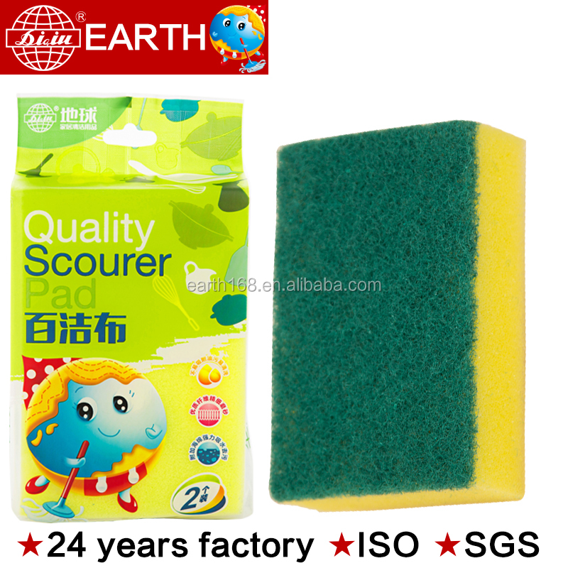 24years factory Kitchen Cleaning Green Sponge rectangular shape Scouring Pad Products ,kitchen cleaning pads