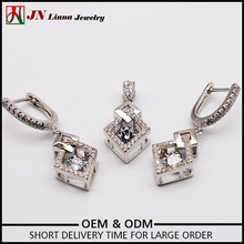 Rhombus shape 925 sterling silver pendant necklace and earrings sets jewelry plated