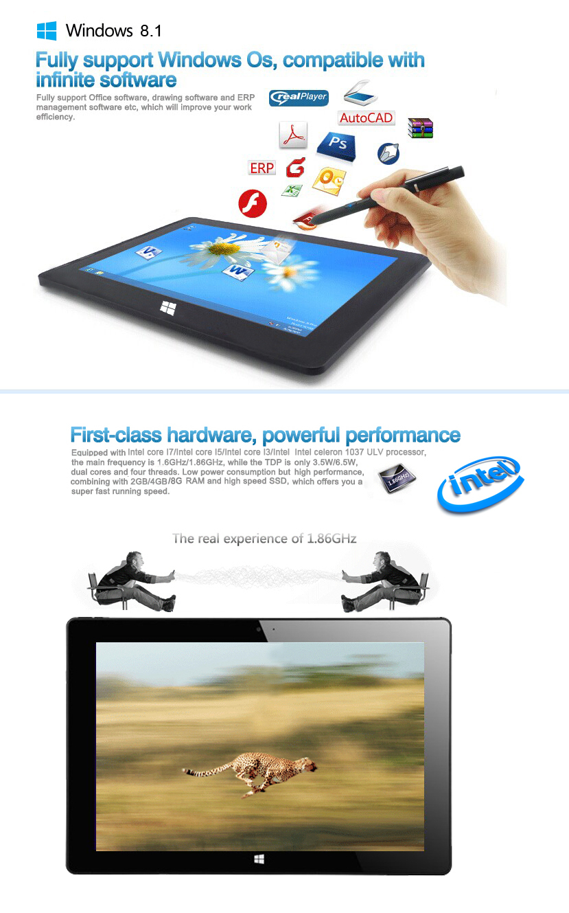 China Factory OEM Intel celeron 1037 Tablet PC with keyboard
