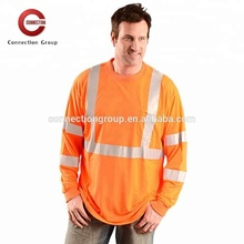 HVT031OR Long Sleeves High Visibility Breathable Work Shirts Wholesale Polo T Shirt Men