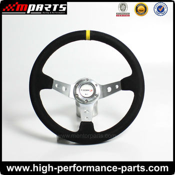 350mm Sport Rally/racing Car Suede/PVC/Leather/Wooden Steering Wheel