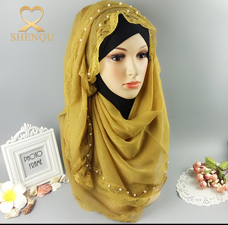Wholesale fashion long white pearl hijab muslim headscarf with lace