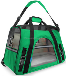 Soft-side dark green pet carrier bag Nylon Mesh Fleece 600D oxford, Airline Approved/For Amazon and E-bay Wholesale Pet Carrier