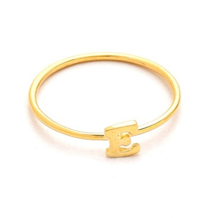 Jingli jewelry hot fashion gold plated steel alphabet letter r finger rings (HZ-005)