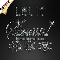 Snowflake with let it snow letters wholesale hot fix iron on transfer