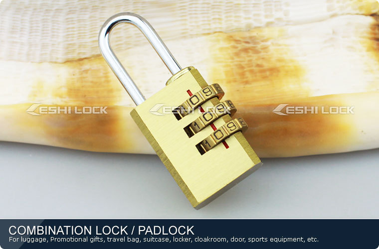 High Security Digits Resettable Travel Luggage Brass Padlock