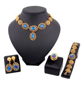 Women African 18k Gold Plated Jewelry Set Fashion Bride Wedding Earrings Ring Necklace Jewelry Set