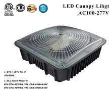 5 years warranty outdoor gas station 45w 70w IP65 DLC LED canopy light