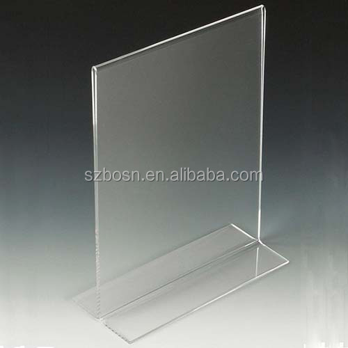 8.5 x 11 Acrylic Sign Holder for Tabletops, Bottom Insert, T-style