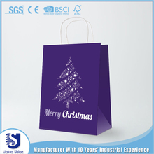 yiwu fashion style paper gift shopping with handle christmas tree bag