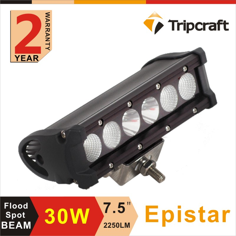Super bright 7.5 inch 30w Off road driving thin led light bar with 6pcs led light lamp bulb