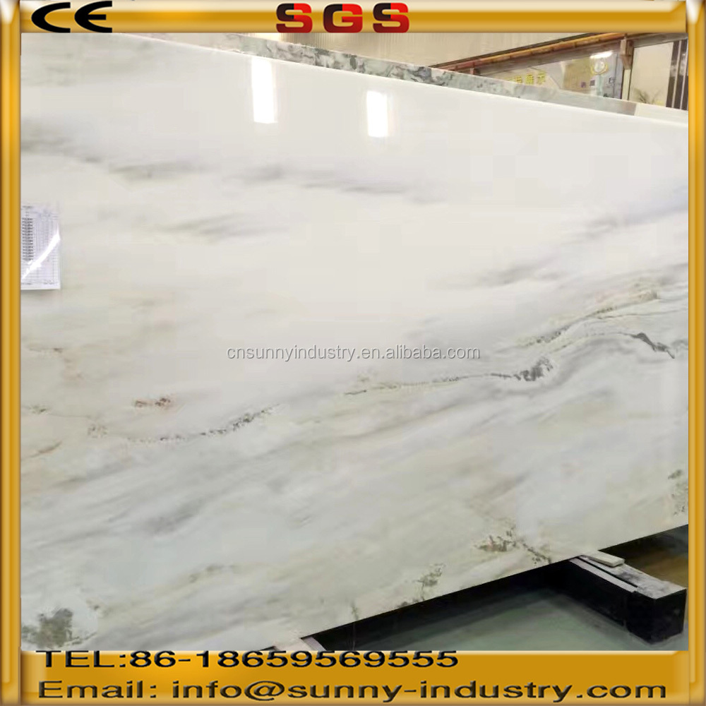 white marble with green landscape pattern decorative stone for tv wall