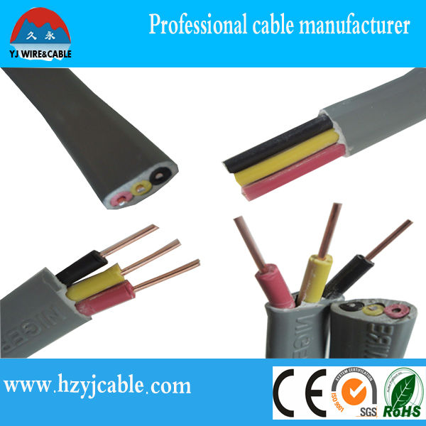 3x10mm 99.99% Pure Copper Conductor PVC Flat Sheath Copper Wire distributors with factory price