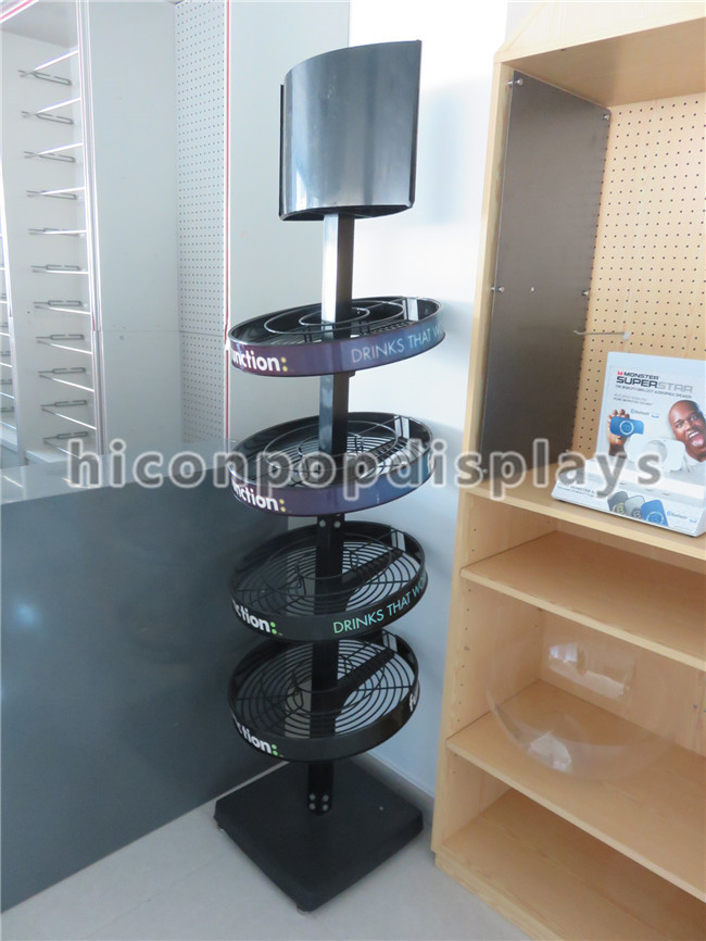 Round Shape Tea Products Retail Black Metal Wire Basket Multilayer Supermarket Display Floor Stand