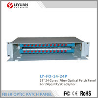 "LY-FO-14-24PMade in China 19"" 24 Cores Fiber Optical Patch Panel For 24pcs FC/SC adaptor"