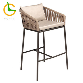 bar club home used brown color high stool rope garden chair LG-R-429