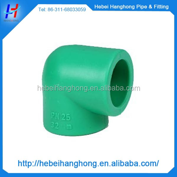 diameter 30 mm 90 degree pn25 green ppr pipe for hot water