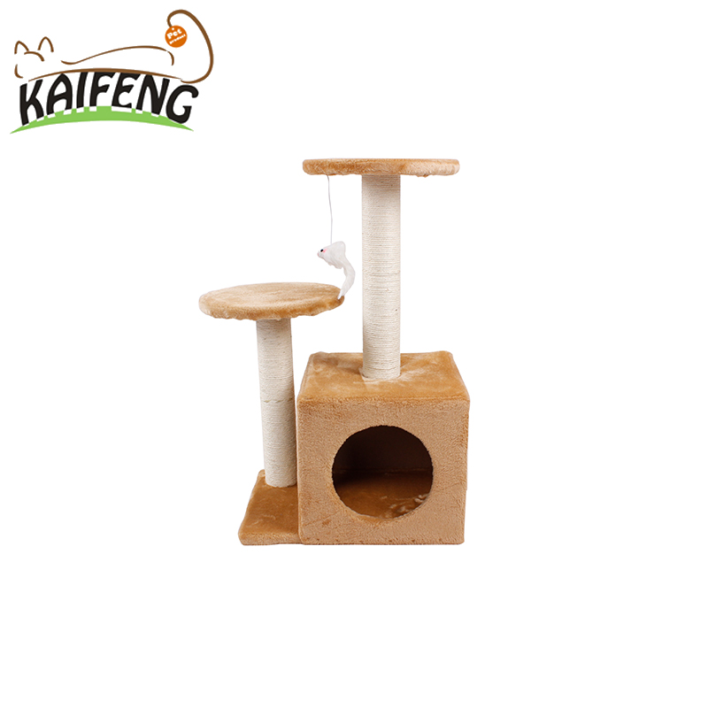 High Mansion Cat Tree Indoor Cat Condo Small Volume Cat Tower With Mouse Toy