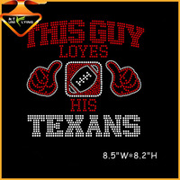 Hotfix rhinestone iron on transfer Texans design for T-shirts