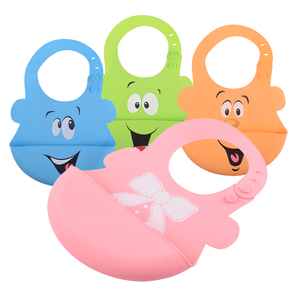 Custom Oem Bpa Free Cute Silicon Rubber Bib Easily Waterproof Wipes Clean Silicone Kids Baby Feeding Bibs With Crumb Pocket
