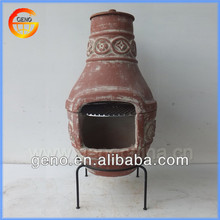 Outdoor Chiminea for clay BBQ Grill with Sun Face Design