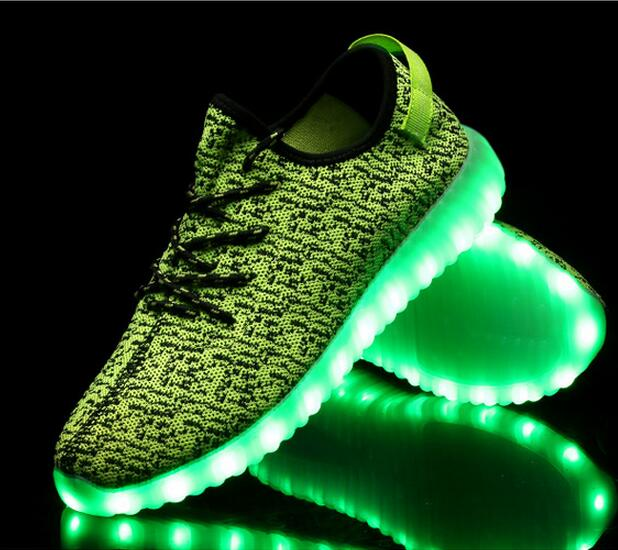High quality casual sport men sneaker led adult flyknit light <strong>shoes</strong>
