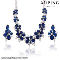 xuping luxury dubai Rhodium color jewelry set wedding jewellery designs