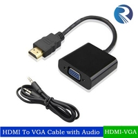 high quality black white hdmi to vga cable with 3.5mm audio hdmi2vga converter cable hdmi to vga with aux for network box